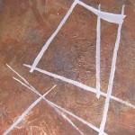 ' Signes sur fond brun ' 2002 92×73 cm